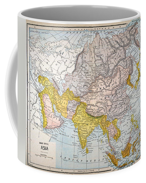 19th Century Coffee Mug featuring the painting Asia Map Late 19th Century by Granger