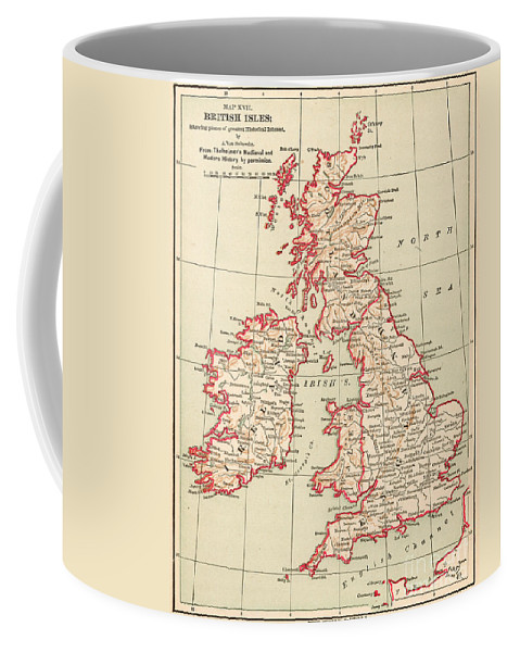 1890 Coffee Mug featuring the painting Map: British Isles, C1890 by Granger