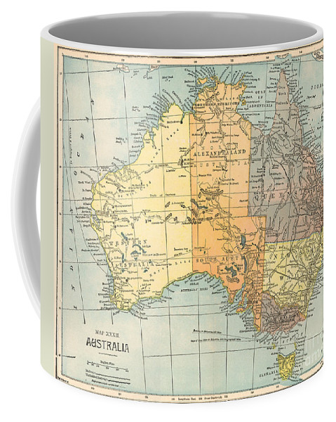 1890 Coffee Mug featuring the painting Map: Australia, C1890 by Granger