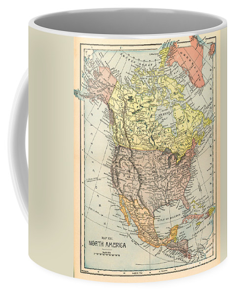 1890 Coffee Mug featuring the painting Map: North America, 1890 by Granger