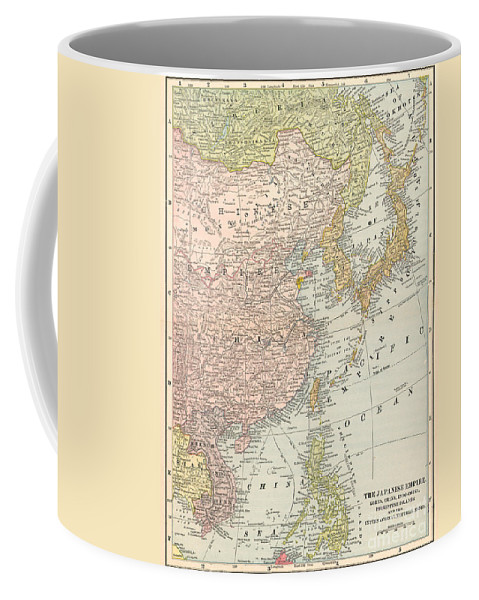1907 Coffee Mug featuring the painting Map: East Asia, 1907 by Granger