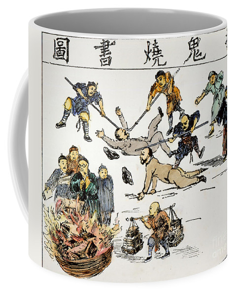 1890 Coffee Mug featuring the painting China: Anti-west Cartoon by Granger