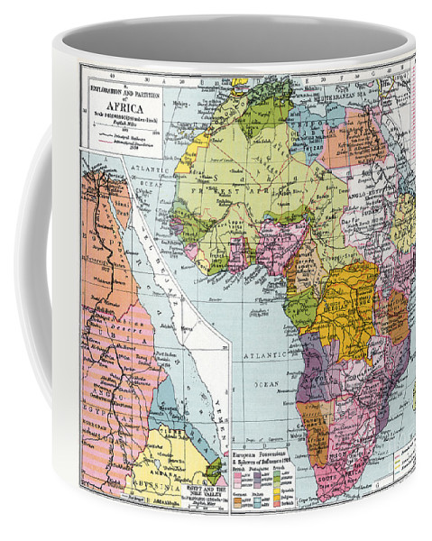 1914 Coffee Mug featuring the painting Partitioned Africa, 1914 by Granger