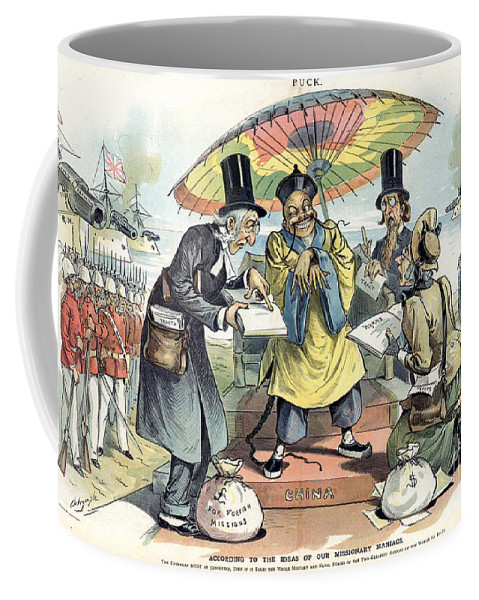 1895 Coffee Mug featuring the painting Missionary Cartoon, 1895 by Granger