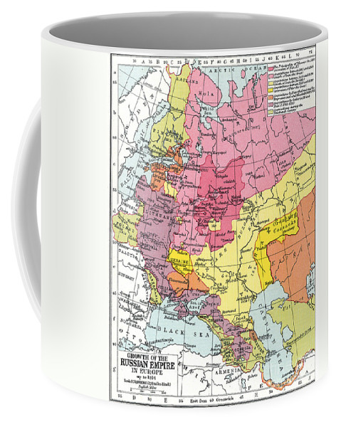 1914 Coffee Mug featuring the painting Map: Expansion Of Russia by Granger