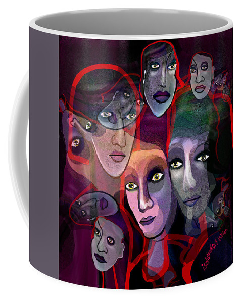 There Is Always Night In Their Eyes 2017 Coffee Mug featuring the digital art 2636  Night In Their Eyes A by Irmgard Schoendorf Welch