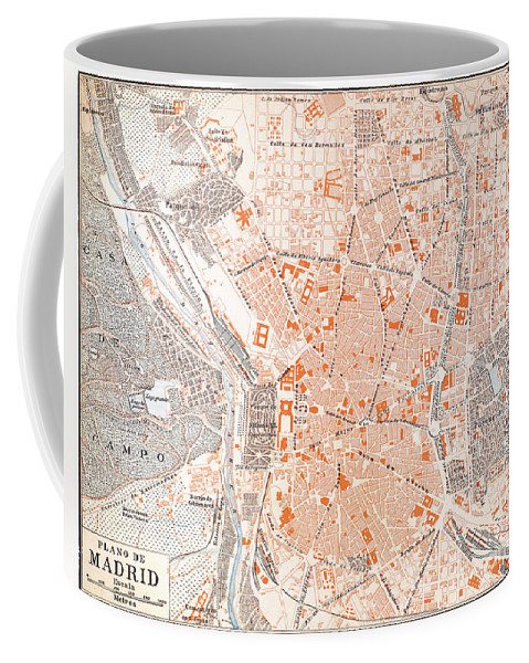 1920 Coffee Mug featuring the painting Spain: Madrid Map, C1920 by Granger