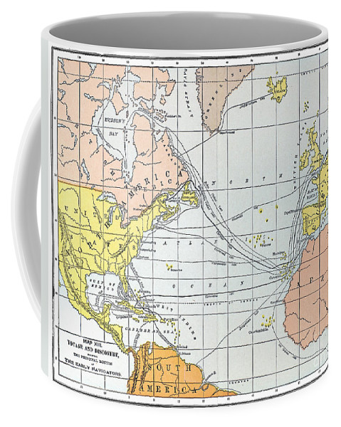 11th Century Coffee Mug featuring the painting Map: Atlantic Voyages by Granger
