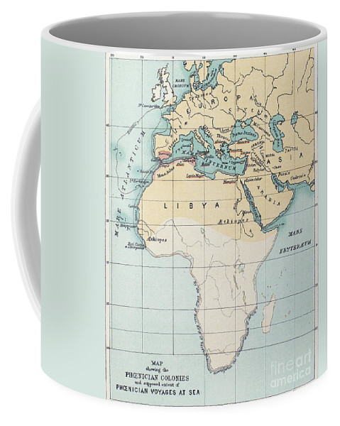 1st Millennium Bc Coffee Mug featuring the painting Map: Phoenician Empire by Granger