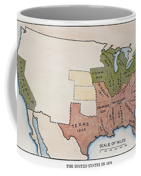 1854 Coffee Mug featuring the painting United States Map, 1854 by Granger