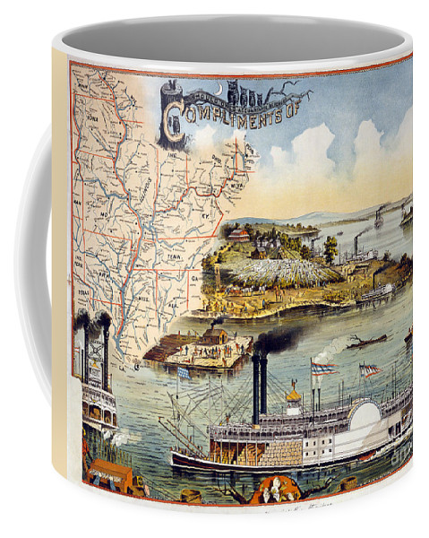 1895 Coffee Mug featuring the painting Mississippi Steamboat by Granger