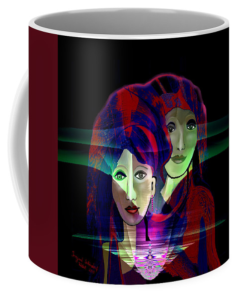 036 Coffee Mug featuring the digital art 036 Two Faces Of Night A V by Irmgard Schoendorf Welch