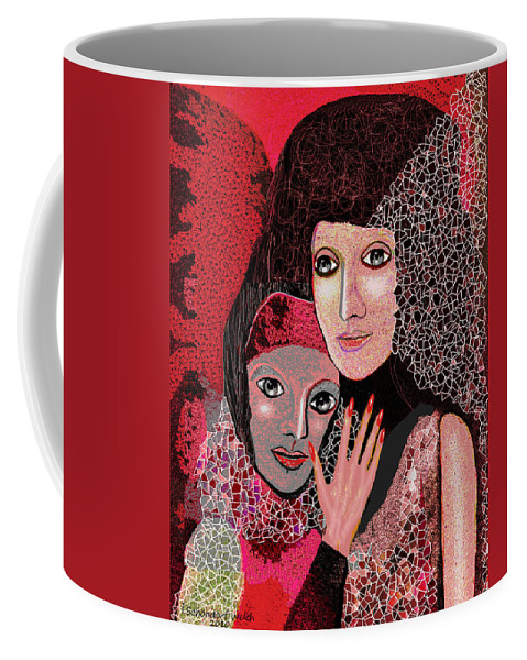 047  To Lean On V  Stretched Canvas Print Coffee Mug featuring the painting 047 Friendship - To Lean On V by Irmgard Schoendorf Welch