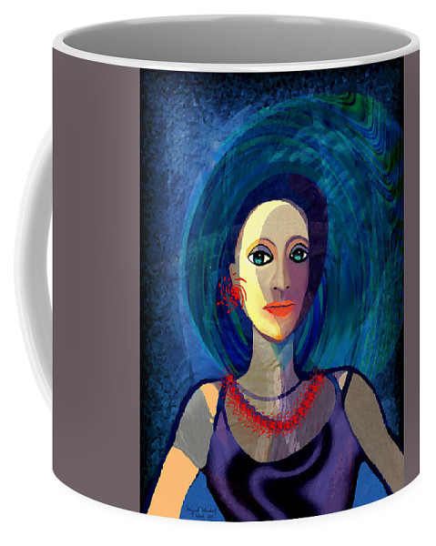 066 Woman With Red Necklace Av Coffee Mug featuring the painting 066 Woman With Red Necklace Av by Irmgard Schoendorf Welch