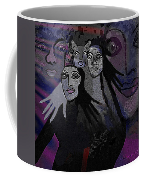 071 The People Of  Night A Coffee Mug featuring the digital art 071  The People Of  Night A by Irmgard Schoendorf Welch
