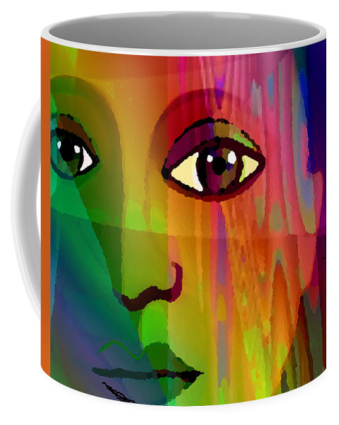 Pensive Woman Coffee Mug featuring the digital art 088 Glance by Irmgard Schoendorf Welch