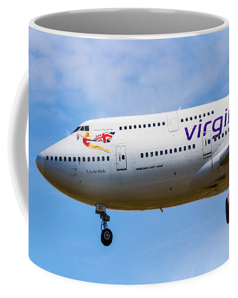 Virgin Coffee Mug featuring the photograph A Virgin Atlantic Boeing 747 by David Pyatt