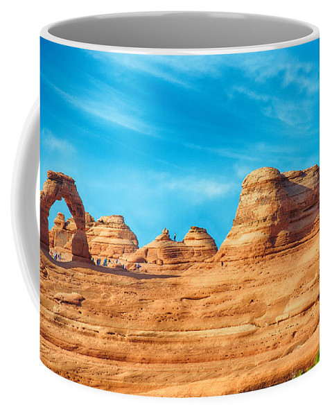 Arches Coffee Mug featuring the photograph Famous Delicate Arch In Arches National Park by Alex Grichenko