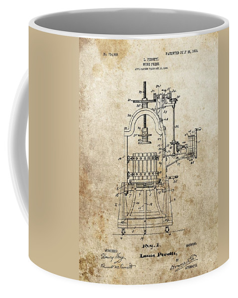 1903 Wine Press Patent Coffee Mug featuring the drawing 1903 Wine Press Patent by Dan Sproul