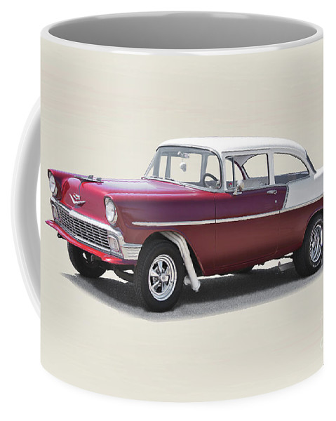Auto Coffee Mug featuring the photograph 1956 Chevrolet 210 Coupe 'gasser Style' by Dave Koontz