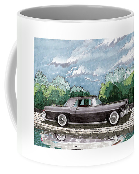 Framed Prints Of Lincoln Continentals. Framed Canvas Prints Of Art Of Famous Lincoln Cars. Framed Prints Of Lincoln Car Art. Framed Canvas Prints Of Great American Classic Cars Coffee Mug featuring the painting 1956 Lincoln Continental Mk II by Jack Pumphrey