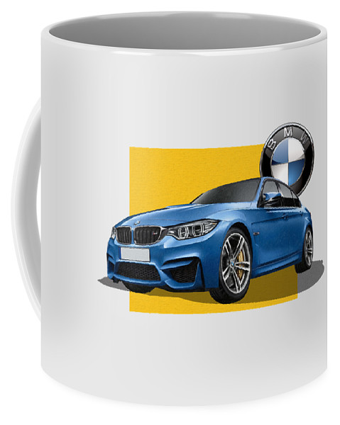 �bmw� Collection By Serge Averbukh Coffee Mug featuring the photograph 2016 B M W M 3 Sedan With 3 D Badge by Serge Averbukh
