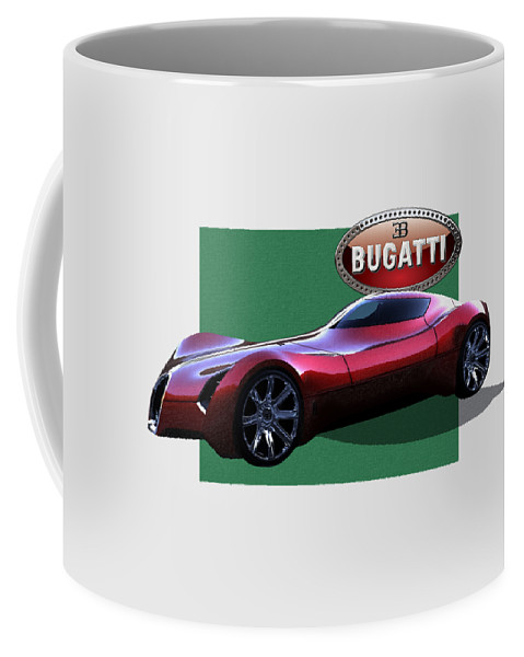 �bugatti� By Serge Averbukh Coffee Mug featuring the photograph 2025 Bugatti Aerolithe Concept with 3 D Badge by Serge Averbukh
