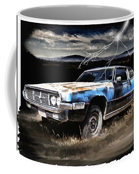 Thunder Coffee Mug featuring the painting 69 Thunderbird by Susan Kinney