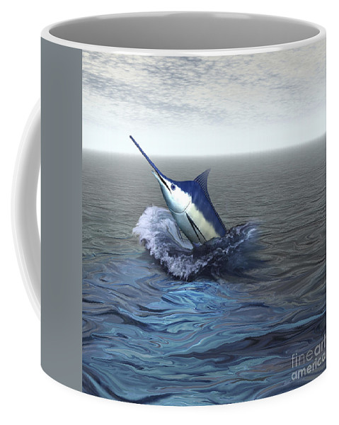 Marlin Coffee Mug featuring the digital art A Blue Marlin Bursts From The Ocean by Corey Ford