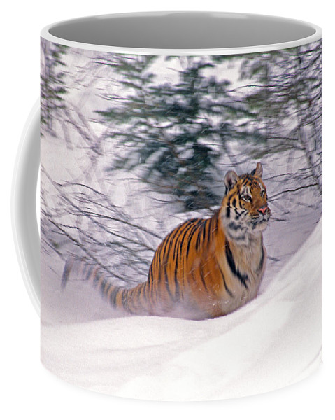 Tiger Coffee Mug featuring the photograph A Blur Of Tiger by Michele Burgess