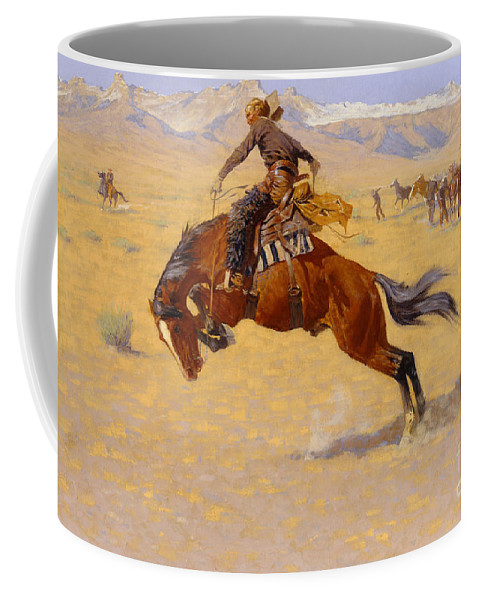 Cowboy; Horse; Pony; Rearing; Bronco; Wild West; Old West; Plain; Plains; American; Landscape; Breaking; Horses; Snow-capped; Mountains; Mountainous Coffee Mug featuring the painting A Cold Morning On The Range by Frederic Remington