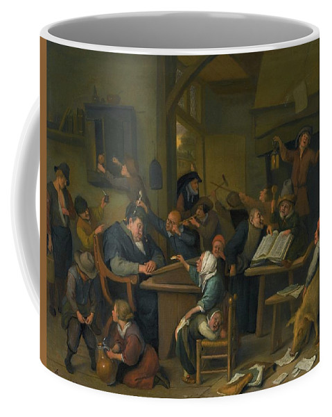 Jan Havicksz. Steen A Riotous Schoolroom With A Snoozing Schoolmaster Coffee Mug featuring the painting A Riotous Schoolroom With A Snoozing Schoolmaster by Jan Havicksz