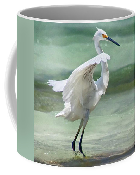 Egret Coffee Mug featuring the photograph A Snowy Egret (egretta Thula) At Mahoe by John Edwards