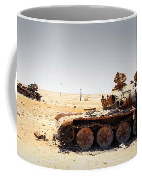 Ajadabiya Coffee Mug featuring the photograph A T-80 Tank Destroyed By Nato Forces by Andrew Chittock