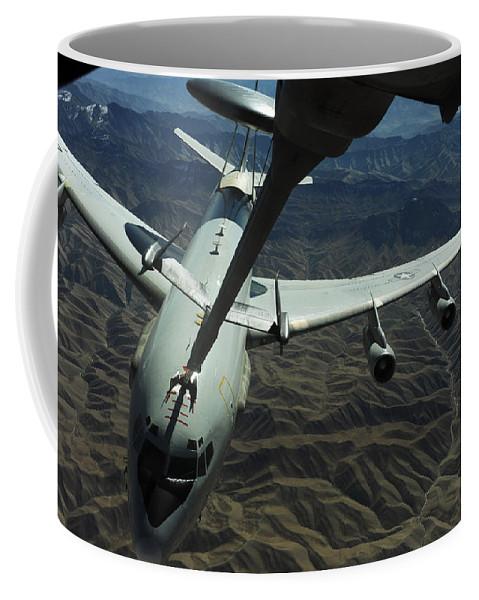 Kc-10 Extender Coffee Mug featuring the photograph A U.s. Air Force E-3 Sentry Aircraft by Stocktrek Images