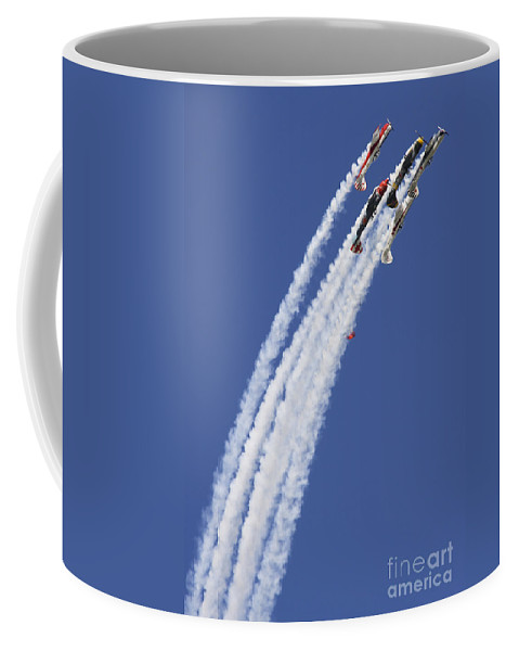 Aerostars Yak-50 Display Team Coffee Mug featuring the photograph Across by Angel Ciesniarska