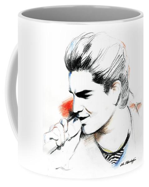 Adam Lambert Coffee Mug featuring the drawing Adam Lambert by Lin Petershagen