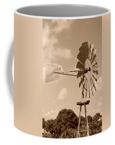 Sepia Coffee Mug featuring the photograph Aermotor Windmill by Rob Hans