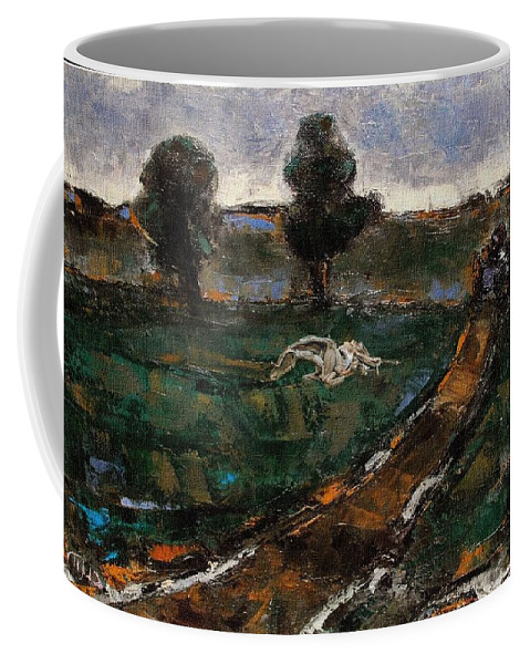 Landscape Coffee Mug featuring the mixed media After The Rain 5 by Pemaro