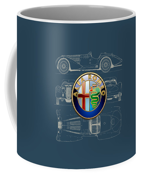 �wheels Of Fortune� By Serge Averbukh Coffee Mug featuring the photograph Alfa Romeo 3 D Badge over 1938 Alfa Romeo 8 C 2900 B Vintage Blueprint by Serge Averbukh