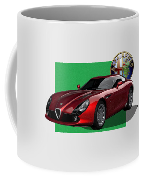 �alfa Romeo� By Serge Averbukh Coffee Mug featuring the photograph Alfa Romeo Zagato T Z 3 Stradale With 3 D Badge by Serge Averbukh