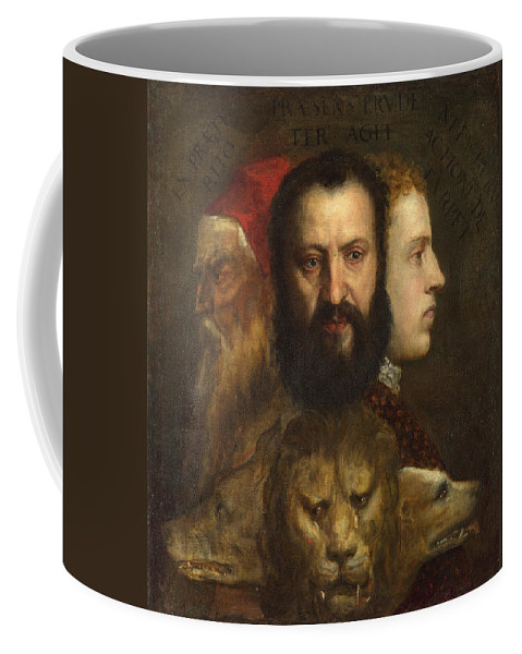 Allegory Of Time Governed By Prudence Coffee Mug featuring the painting Allegory Of Time Governed By Prudence by Celestial Images