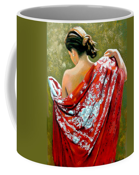 Red Coffee Mug featuring the painting aly by Jose Manuel Abraham