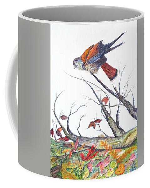 Bird Coffee Mug featuring the painting American Kestrel by Ben Kiger