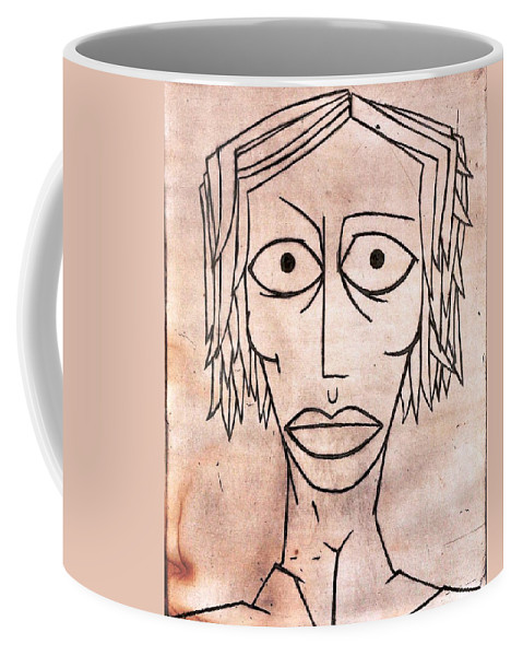 Clay Coffee Mug featuring the painting amy by Thomas Valentine