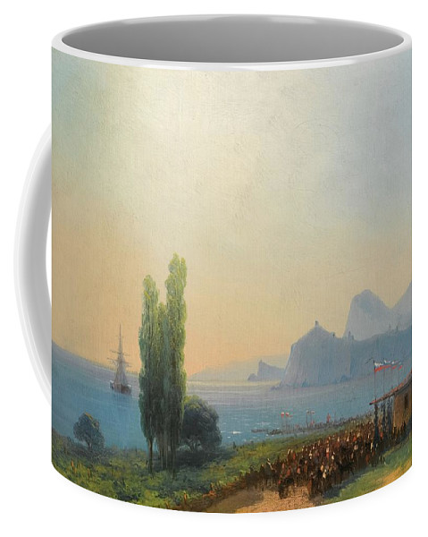 Ivan Konstantinovich Aivazovsky 1817-1900 An Imperial Welcome At Sudak Coffee Mug featuring the painting An Imperial Welcome At Sudak by Ivan Konstantinovich