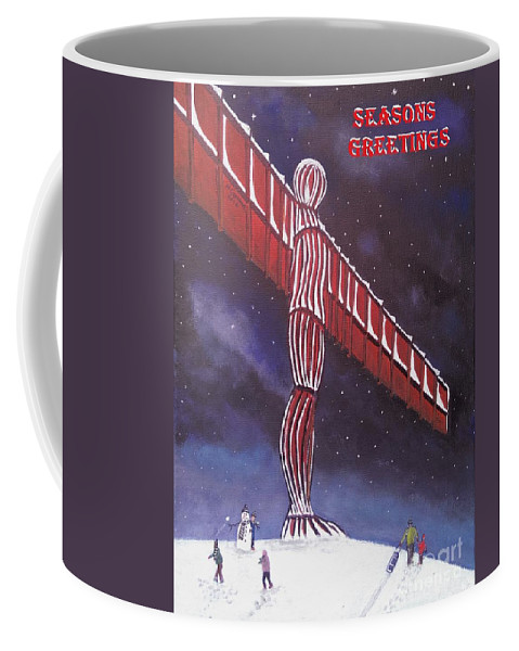 Angel Of The North Coffee Mug featuring the painting Angel Of The North Christmas by Neal Crossan