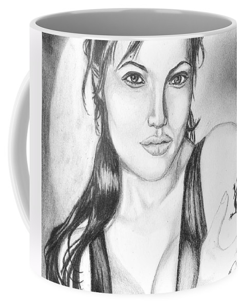 Portrait Coffee Mug featuring the drawing Angelina Jolie Portrait by Alban Dizdari