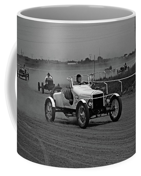 Antique Coffee Mug featuring the photograph Antique Races Black And White by Anthony W Weir