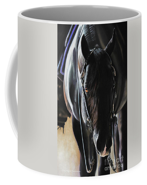 Aqha Coffee Mug featuring the pastel Any Time...Any Place by Joni Beinborn